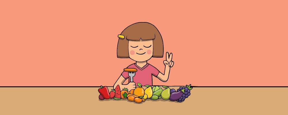 A little girl with a vegetarian diet