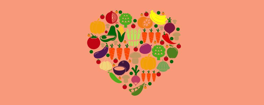 A heart shape of vegetarian diet